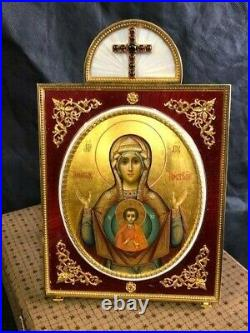 Beautiful Imperial Russian guilloché enamel gold plated silver icon by Faberge