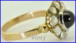 Certified antique Imperial Russian 18k gold, 1.17ct Diamonds& 2.8ct Sapphire ring