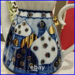 Cobalt 22K Gold Teapot Russian Church Imperial Lomonosov Porcelain