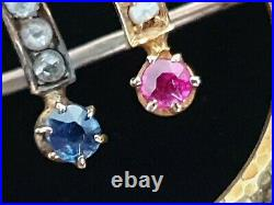 FABERGE Brooch Pin Imperial Russian Gold 56 Ruby Sapphire Seed Pearl Diamond 14K