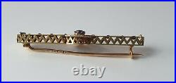 FABERGE Design Russian Imperial 56 Gold 14K SAPPHIRES Romanov Stick Pin Brooch