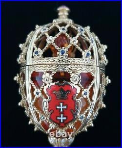 FABERGE Egg Victor Mayer Gdansk Amber 18K Gold Enamel Guilloche Imperial Russian