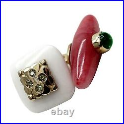 FABERGE Imperial Russian Cuff Links Gold White Jade Demantoid Gemstone Nephrite