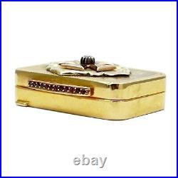 FABERGE Imperial Russian Gold 18K Diamond Ruby Snuff Pill Box Case Saint George