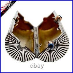 FABERGE Rare Antique Imperial Russian Silver Cigarette Case Gold Sapphire Vesta