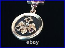 FABERGE Russian Imperial Eagle 14K Gold Ruby Diamond Red Cross Hardstone Pendant