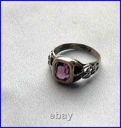 FABERGE design Imperial Russian Ring 56 Gold/84 Silver with Amethyst Stone
