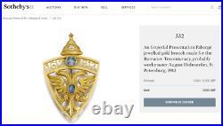 Faberge Brooch Imperial Russian Romanovs Tercentenary Nicholas II Presentation