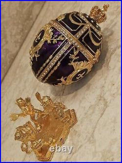 Faberge Egg Russian Fabrege Egg Jewelry box Royal Purple 24k Gold 4ct Swarovski