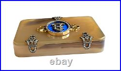 Faberge Imperial Russian 14k Gold, Diamond & Enamel Agate Box Circa 19-20th C