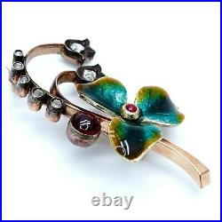 Faberge Imperial Russian Enamel Lilies of The Valley Diamond Ruby Gold Brooch RU