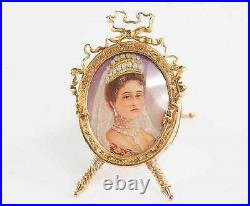 Faberge Russian Imperial Gold Picture Frame, Tsariza Alexandra Feodorovna