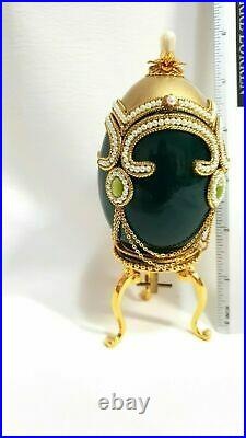 Fabrege Antique Imperial Russian Faberge Goose egg Music Jewelry box 24k Gold HM