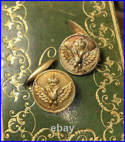 Fine Antique Imperial 84 Mark Russian Eagle Gold Gilt Sterling Silver Cufflinks