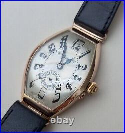 Fine Antique Imperial Russian H MOSER & CIE 14k Gold Tonneau Wristwatch c. 1910