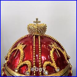 Huge Exquisite Crystal Faberge Egg Russian Royal Imperial Trinket Jewellery Box