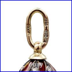 Imperial Egg Pendant Russian ARTEL 18K GOLD 72 Silver Diamond Enamel Guilloche