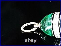 Imperial Egg Pendant Russian ARTEL 56 Gold 14K Silver Sapphire Guilloche Enamel