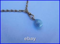 Imperial Russian 14K Gold Silver Milkish Blue Enamel Guilloche Egg Pendant Charm