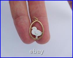 Imperial Russian 1900 18K Gold Enamel Chicken Chick Easter Egg Pendant Charm