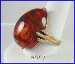 Imperial Russian 28mm Baltic Amber Ring Gold On Sterling Silver sz12.5 Gorgeous