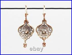 Imperial Russian Dangle Earrings 144 Diamonds 56 Rose 14K Gold Silver /11gr