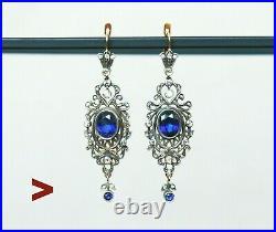 Imperial Russian Earrings solid 56 14K Gold Sapphire Diamonds / 12.25gr