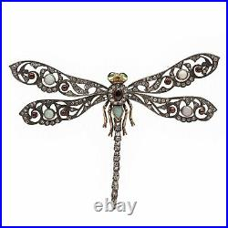 Imperial Russian FABERGE Era Dragonfly Brooch 56 Gold Diamond Beetle Bug Insect