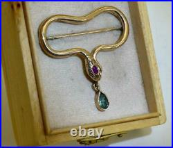 Imperial Russian Faberge 14k Gold, Ruby&Emerald SNAKE brooch in original box, 1890