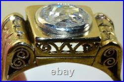Imperial Russian Faberge 14k gold & 1.5ct Diamond ring c1908. Original box