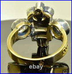 Imperial Russian Faberge 14k gold&3.8ct Diamonds award ring. Nicholas II monogram