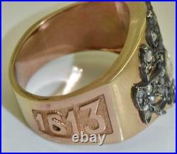 Imperial Russian Faberge 14k gold&Diamonds Romanov Tercentenary mens ring c1913
