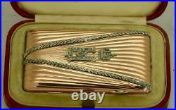 Imperial Russian Faberge 14k gold&Diamonds cigarette case awarded by Nicholas II
