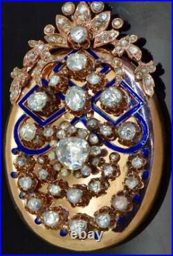 Imperial Russian Faberge 14k gold, enamel&9ct Diamonds locket for Empress Maria