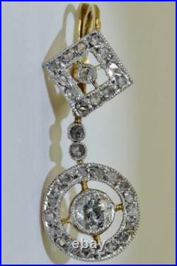 Imperial Russian Faberge 18k gold & 1ct Diamonds earrings set awarded by Tsar