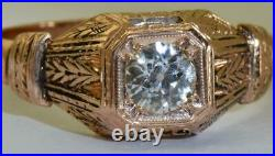 Imperial Russian Faberge 18k red gold & 0.7ct Diamond ring c1911. Original box