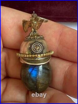 Imperial Russian Faberge 84 Silver & Gold Military Award Helmet Stone Pendant