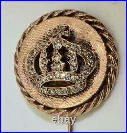 Imperial Russian Faberge Diplomatic award Gold&Diamonds Crown lapel pin c1915