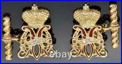 Imperial Russian Faberge gold, Diamonds&enamel cufflinks set. Awarded by Empress
