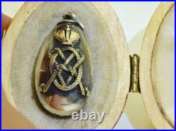 Imperial Russian Faberge silver&gold Easter Egg pendant c1880. Empress Maria