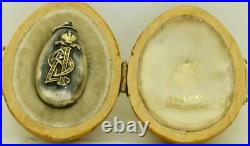 Imperial Russian Faberge silver&gold Easter Egg pendant c1896. Empress Alexandra
