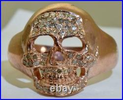 Imperial Russian Memento Mori Masonic Skull 14k pink gold, 1ct Diamonds mens ring