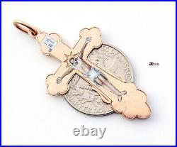 Imperial Russian Orthodox Cross Crucifix Enamel Solid 56 / 14K Gold /5.5gr