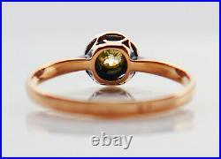 Imperial Russian Ring 0.2 ct Green Diamond solid 56 14K Gold Silver US7.5 /1.8gr