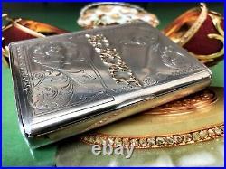 Imperial Russian Silver Cigarette Case With 14k Gold Application Circa 20th Cen