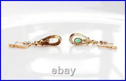 Imperial Soviet Russian Dangle Earrings Emeralds Diamonds 56 /14K Gold / 4.7gr