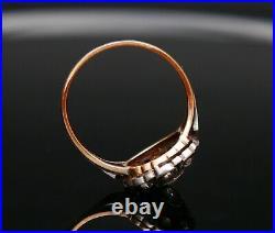 Imperial Soviet Russian Set Earrings + Ring Diamonds solid 14K Gold Silver /7gr