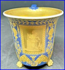 Imperial (kpm) Russian Neoclassical Cabinet Cup, Three Paw Feet, Blue & Gold