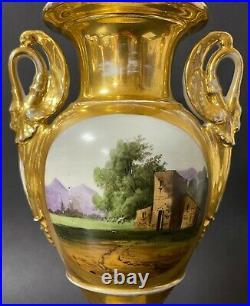 Large Pair Antique 19C Imperial Russian Gilded Porcelain Vases (Gardner)