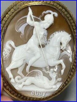 Large Top Quality Antique Imperial Russian 14k Gold Carved Saint George Cameo